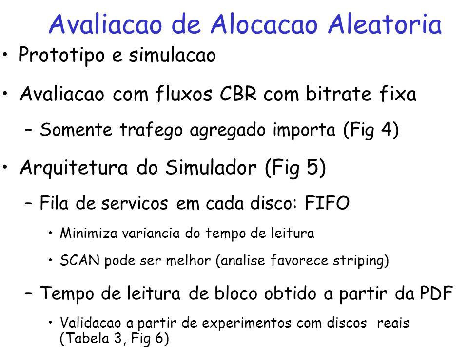 Prototipo e simulacao Avaliacao com fluxos CBR com bitrate fixa –Somente trafego agregado importa (Fig 4) Arquitetura do Simulador (Fig 5) –Fila de se