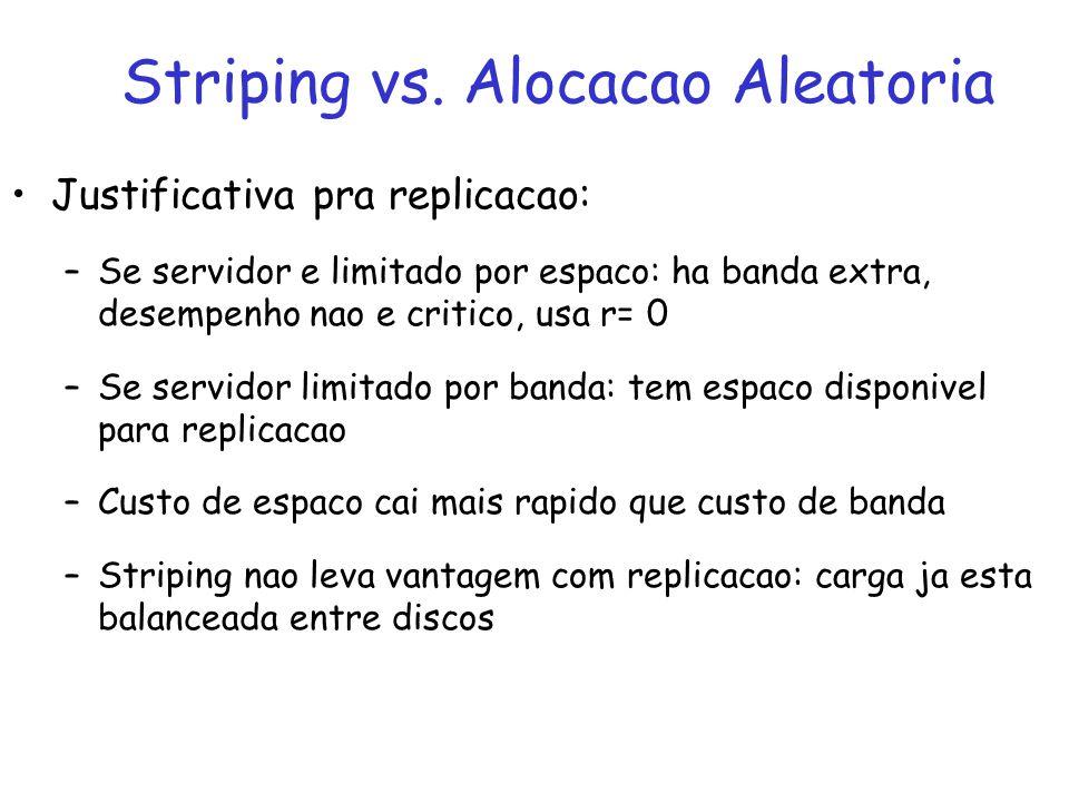 Justificativa pra replicacao: –Se servidor e limitado por espaco: ha banda extra, desempenho nao e critico, usa r= 0 –Se servidor limitado por banda: