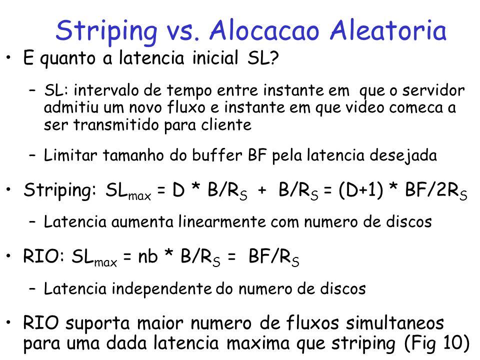 E quanto a latencia inicial SL? –SL: intervalo de tempo entre instante em que o servidor admitiu um novo fluxo e instante em que video comeca a ser tr