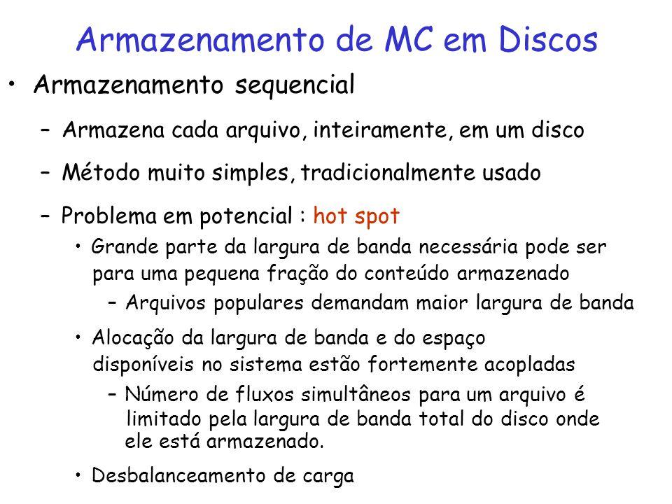 Armazenamento sequencial –Armazena cada arquivo, inteiramente, em um disco –Método muito simples, tradicionalmente usado –Problema em potencial : hot
