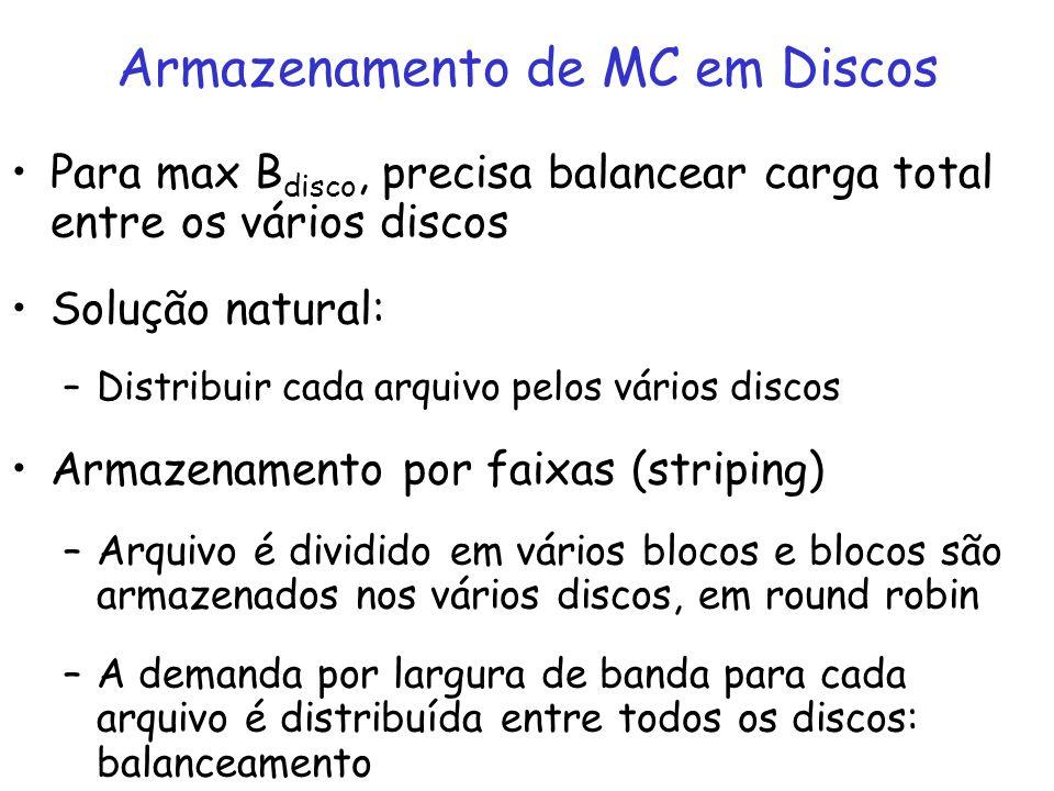 Para max B disco, precisa balancear carga total entre os vários discos Solução natural: –Distribuir cada arquivo pelos vários discos Armazenamento por