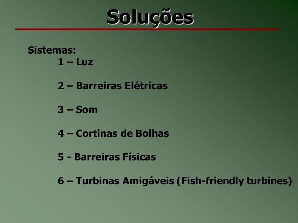 Soluções Sistemas: 1 – Luz 2 – Barreiras Elétricas 3 – Som 4 – Cortinas de Bolhas 5 - Barreiras Físicas 6 – Turbinas Amigáveis (Fish-friendly turbines)