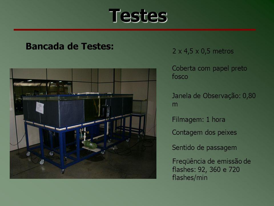 Testes Bancada de Testes: 2 x 4,5 x 0,5 metros Coberta com papel preto fosco Janela de Observação: 0,80 m Filmagem: 1 hora Contagem dos peixes Sentido de passagem Freqüência de emissão de flashes: 92, 360 e 720 flashes/min