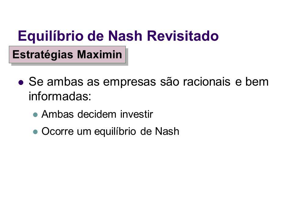 Se ambas as empresas são racionais e bem informadas: Ambas decidem investir Ocorre um equilíbrio de Nash Equilíbrio de Nash Revisitado Estratégias Max