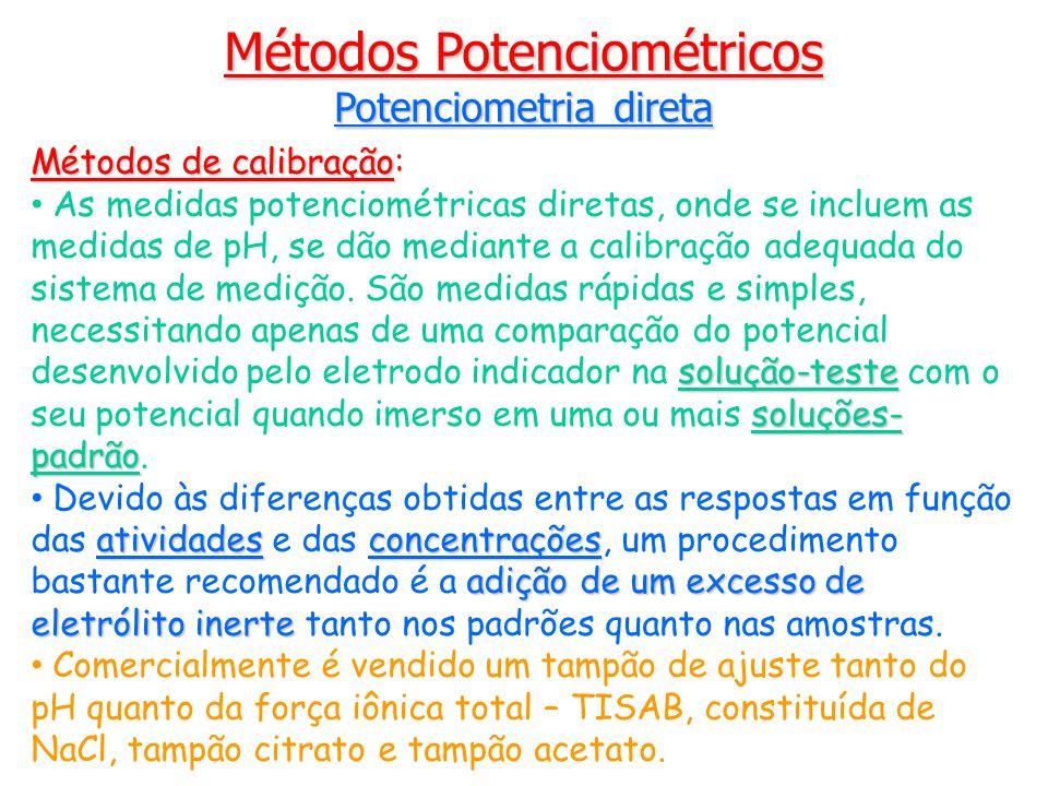 Métodos de calibração Métodos de calibração: solução-teste soluções- padrão As medidas potenciométricas diretas, onde se incluem as medidas de pH, se dão mediante a calibração adequada do sistema de medição.