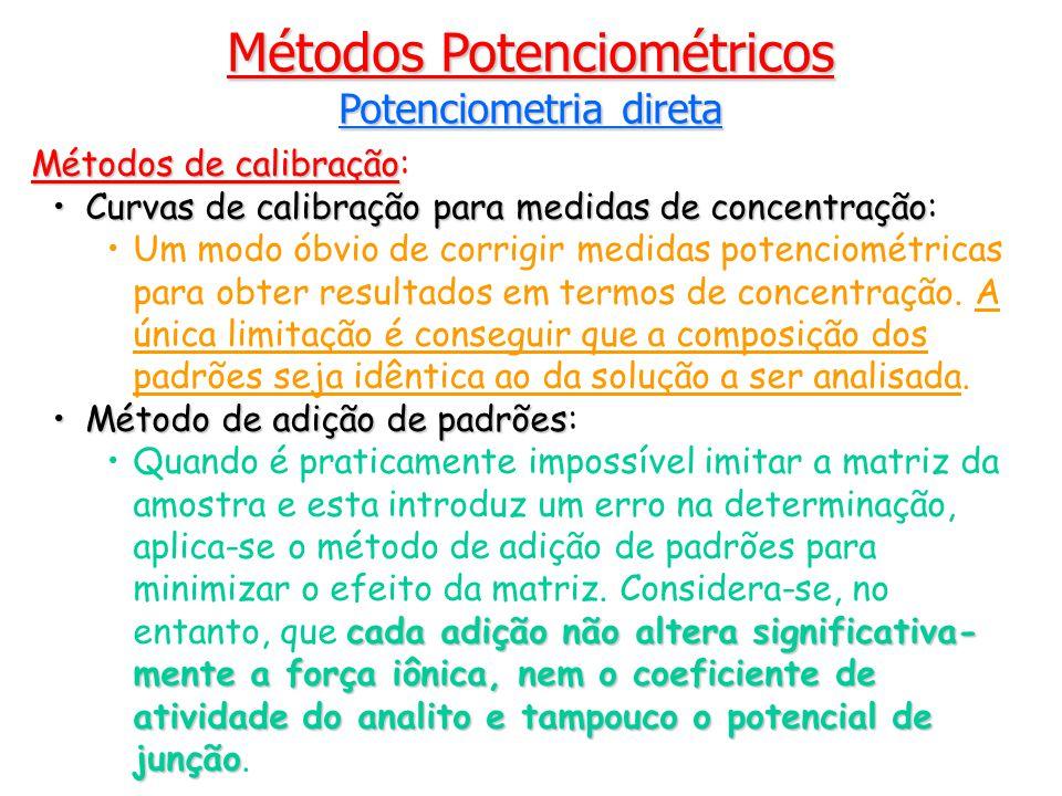 Métodos de calibração Métodos de calibração: Curvas de calibração para medidas de concentraçãoCurvas de calibração para medidas de concentração: Um modo óbvio de corrigir medidas potenciométricas para obter resultados em termos de concentração.
