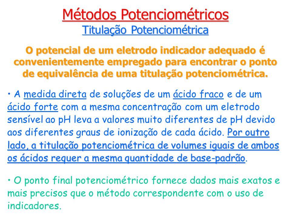 O potencial de um eletrodo indicador adequado é convenientemente empregado para encontrar o ponto de equivalência de uma titulação potenciométrica.