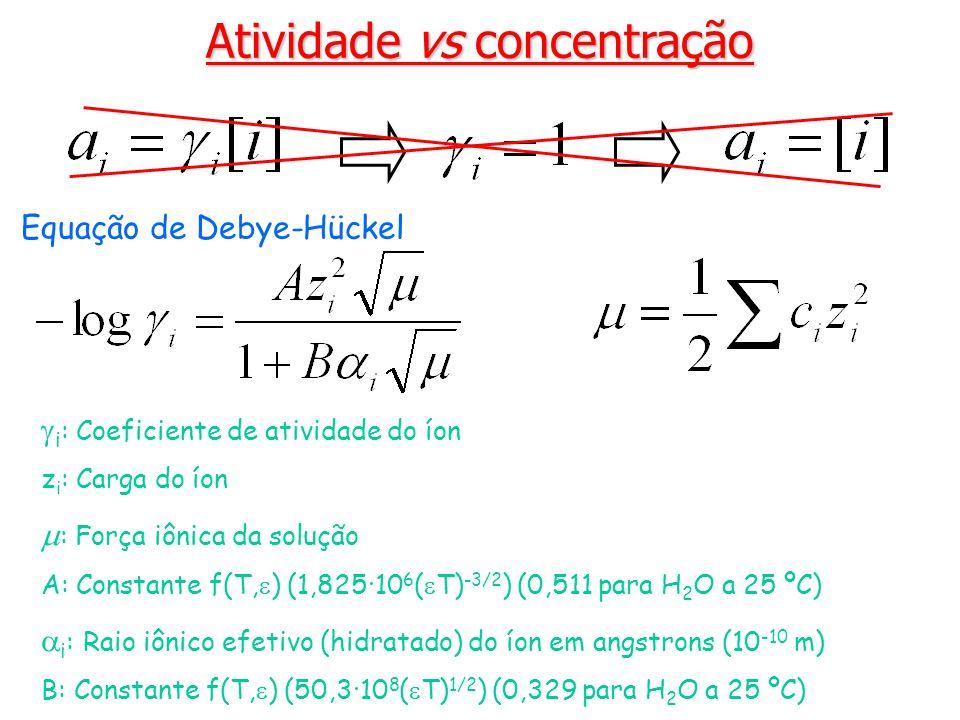 Atividade vs concentração i : Coeficiente de atividade do íon z i : Carga do íon : Força iônica da solução A: Constante f(T, ) (1,825·10 6 ( T) -3/2 ) (0,511 para H 2 O a 25 ºC) i : Raio iônico efetivo (hidratado) do íon em angstrons (10 -10 m) B: Constante f(T, ) (50,3·10 8 ( T) 1/2 ) (0,329 para H 2 O a 25 ºC) Equação de Debye-Hückel