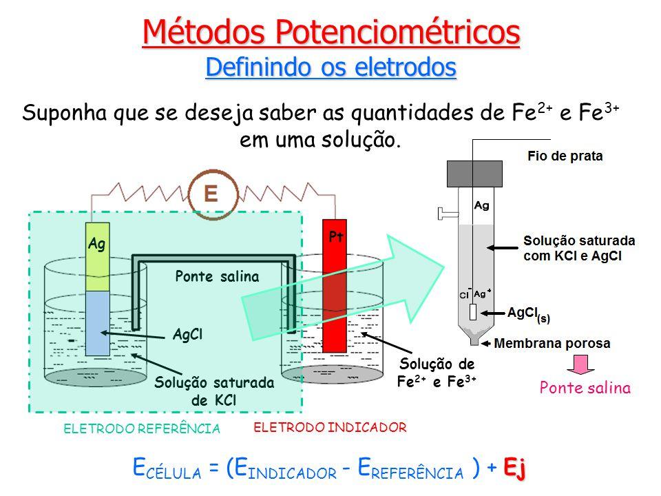 Métodos Potenciométricos Definindo os eletrodos Suponha que se deseja saber as quantidades de Fe 2+ e Fe 3+ em uma solução.