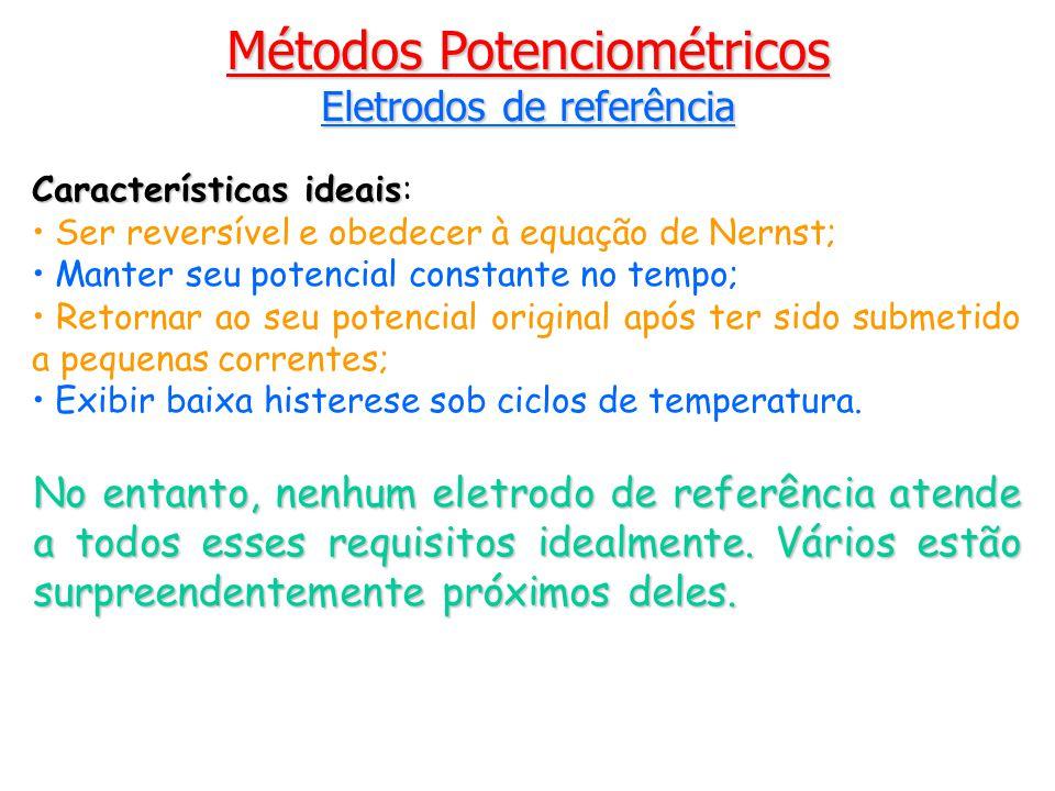 Eletrodos de referência Características ideais Características ideais: Ser reversível e obedecer à equação de Nernst; Manter seu potencial constante no tempo; Retornar ao seu potencial original após ter sido submetido a pequenas correntes; Exibir baixa histerese sob ciclos de temperatura.