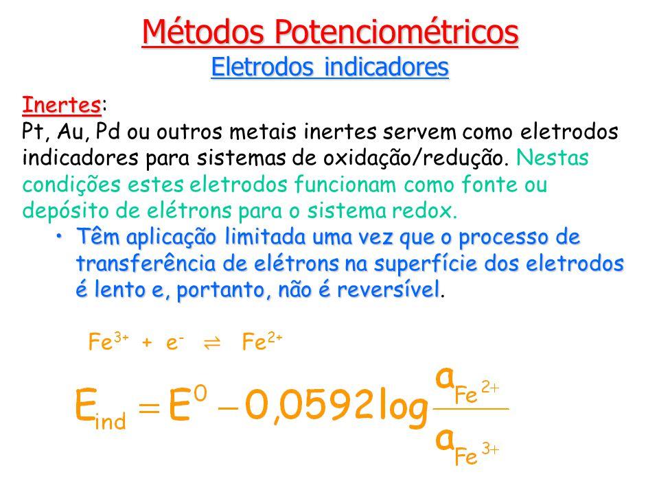 Métodos Potenciométricos Eletrodos indicadores Inertes Inertes: Pt, Au, Pd ou outros metais inertes servem como eletrodos indicadores para sistemas de oxidação/redução.