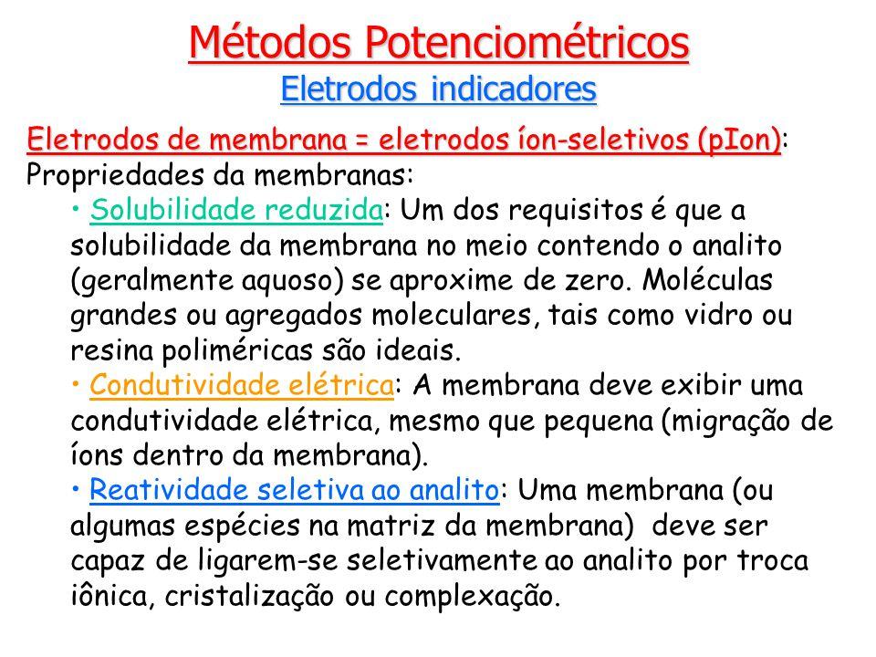 Métodos Potenciométricos Eletrodos indicadores Eletrodos de membrana = eletrodos íon-seletivos (pIon) Eletrodos de membrana = eletrodos íon-seletivos (pIon): Propriedades da membranas: Solubilidade reduzida: Um dos requisitos é que a solubilidade da membrana no meio contendo o analito (geralmente aquoso) se aproxime de zero.