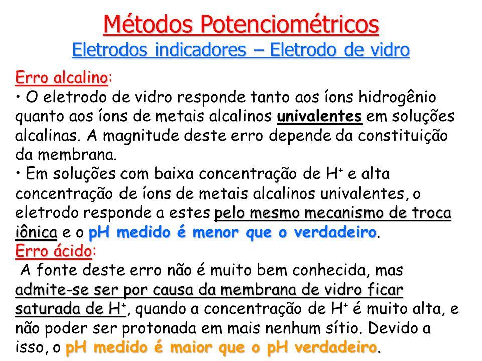Erro alcalino Erro alcalino: O eletrodo de vidro responde tanto aos íons hidrogênio quanto aos íons de metais alcalinos univalentes em soluções alcalinas.