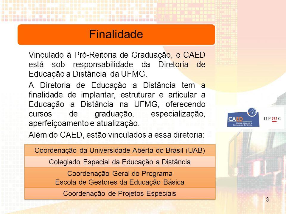 Finalidade Vinculado à Pró-Reitoria de Graduação, o CAED está sob responsabilidade da Diretoria de Educação a Distância da UFMG.