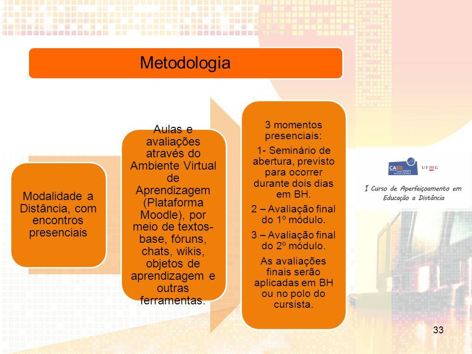 Metodologia Modalidade a Distância, com encontros presenciais Aulas e avaliações através do Ambiente Virtual de Aprendizagem (Plataforma Moodle), por meio de textos- base, fóruns, chats, wikis, objetos de aprendizagem e outras ferramentas.