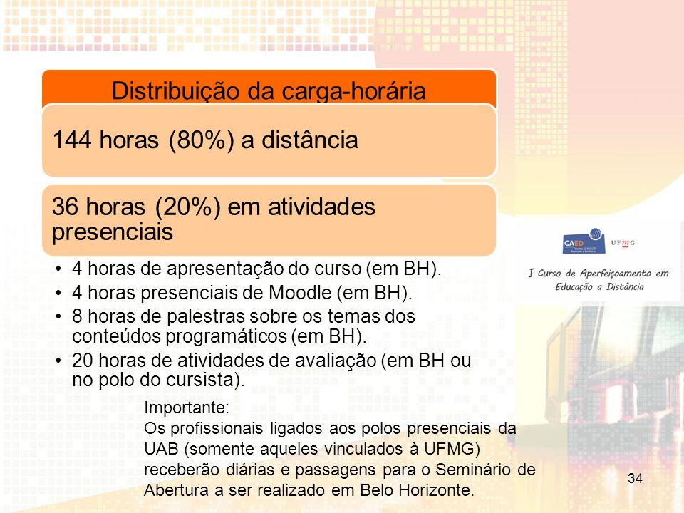 Distribuição da carga-horária 144 horas (80%) a distância 36 horas (20%) em atividades presenciais 4 horas de apresentação do curso (em BH).