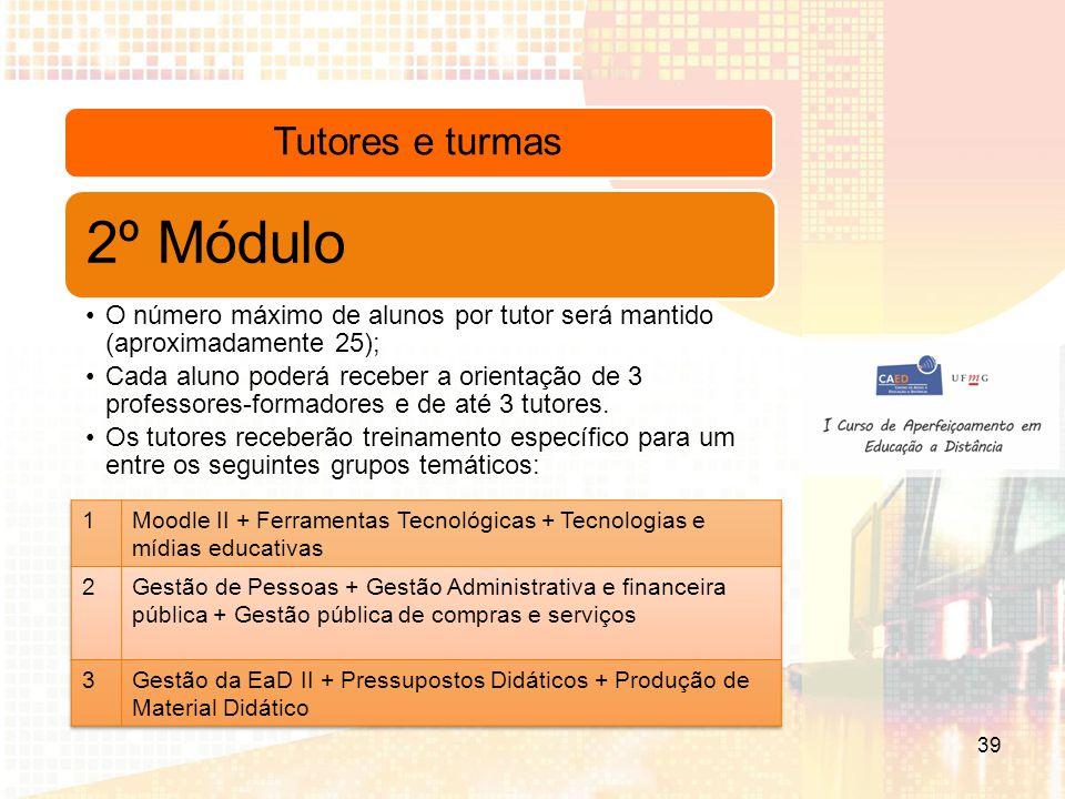 Tutores e turmas 2º Módulo O número máximo de alunos por tutor será mantido (aproximadamente 25); Cada aluno poderá receber a orientação de 3 professores-formadores e de até 3 tutores.