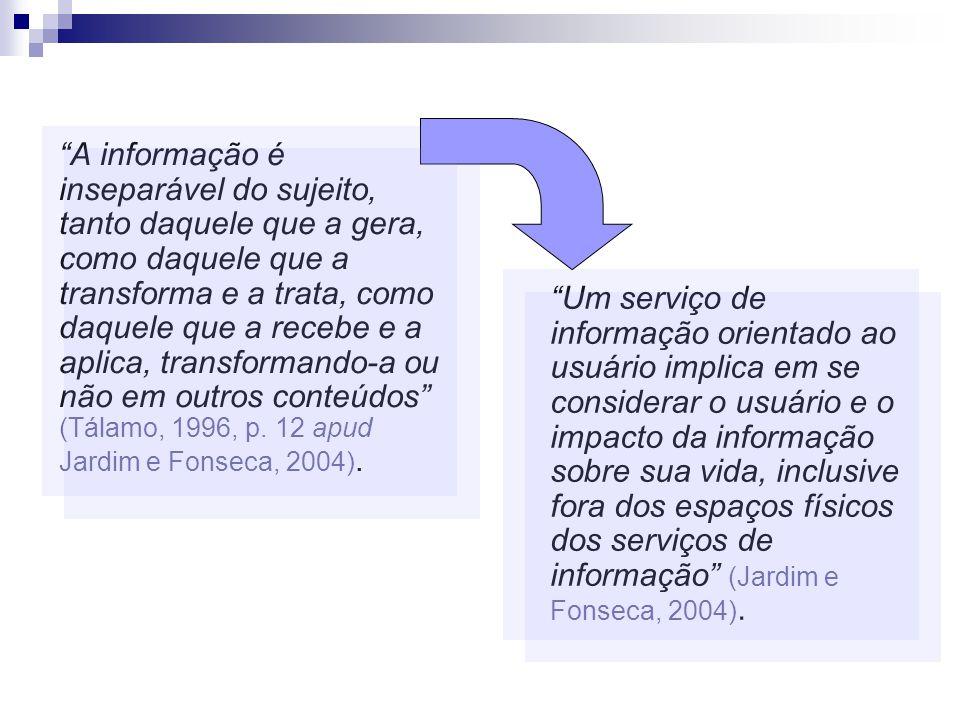 A informação é inseparável do sujeito, tanto daquele que a gera, como daquele que a transforma e a trata, como daquele que a recebe e a aplica, transf