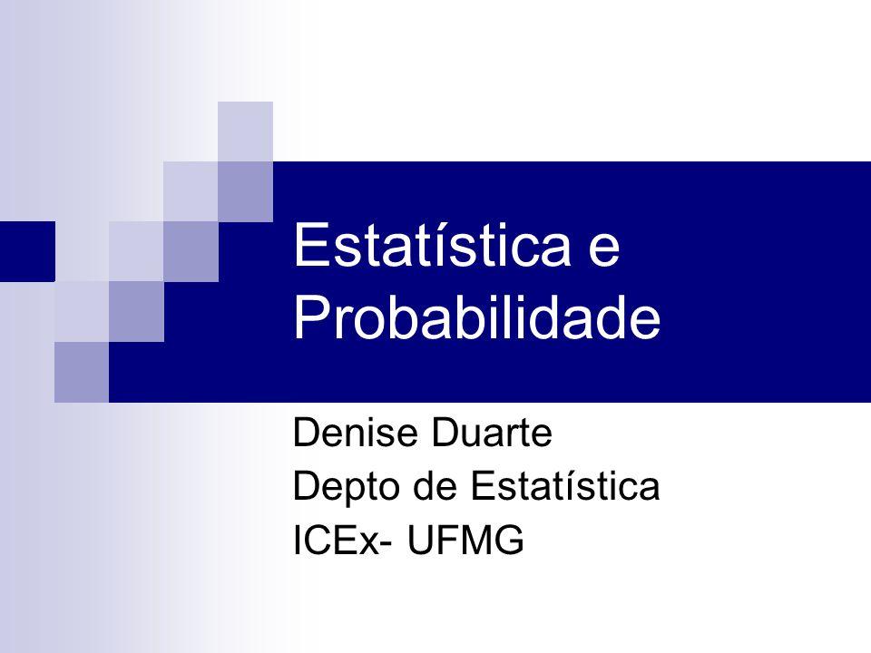 Estatística e Probabilidade Denise Duarte Depto de Estatística ICEx- UFMG