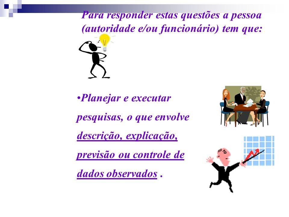 Planejar e executar pesquisas, o que envolve descrição, explicação, previsão ou controle de dados observados. Para responder estas questões a pessoa (