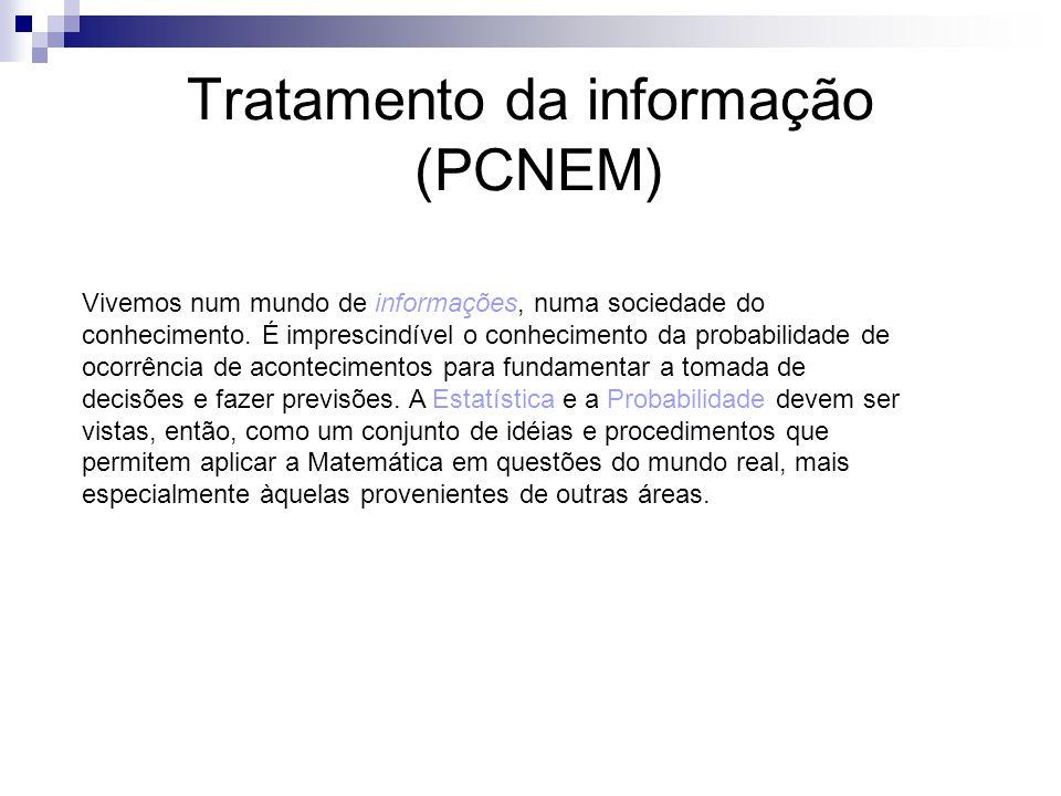 Tratamento da informação (PCNEM) Vivemos num mundo de informações, numa sociedade do conhecimento. É imprescindível o conhecimento da probabilidade de