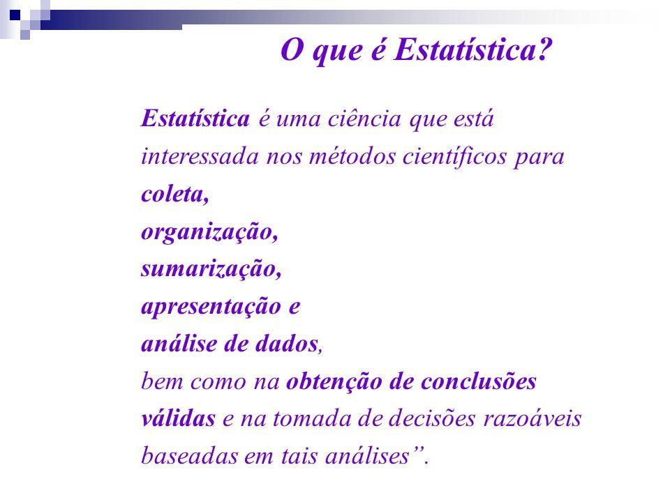 O que é Estatística? Estatística é uma ciência que está interessada nos métodos científicos para coleta, organização, sumarização, apresentação e anál