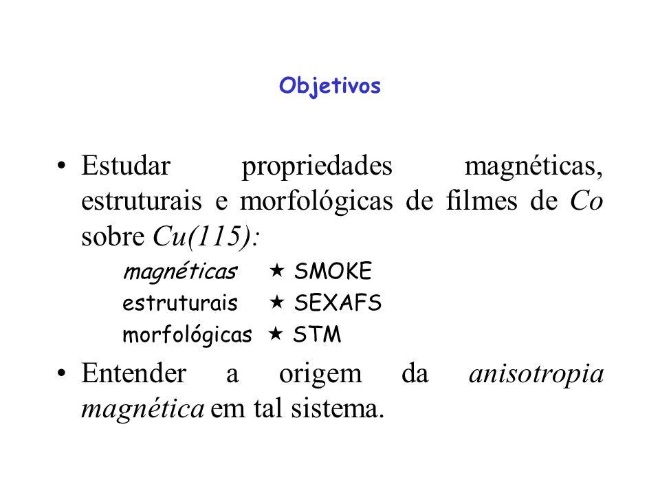 Estudar propriedades magnéticas, estruturais e morfológicas de filmes de Co sobre Cu(115): magnéticas SMOKE estruturais SEXAFS morfológicas STM Entend
