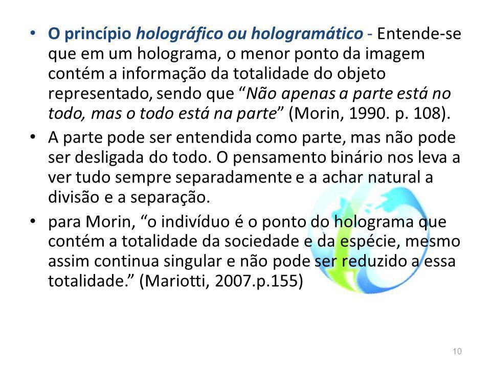 O princípio holográfico ou hologramático - Entende-se que em um holograma, o menor ponto da imagem contém a informação da totalidade do objeto representado, sendo que Não apenas a parte está no todo, mas o todo está na parte (Morin, 1990.