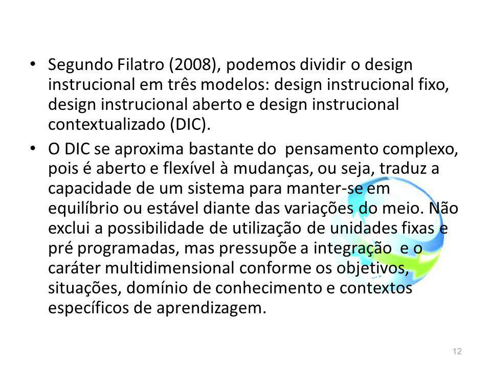 Segundo Filatro (2008), podemos dividir o design instrucional em três modelos: design instrucional fixo, design instrucional aberto e design instrucional contextualizado (DIC).