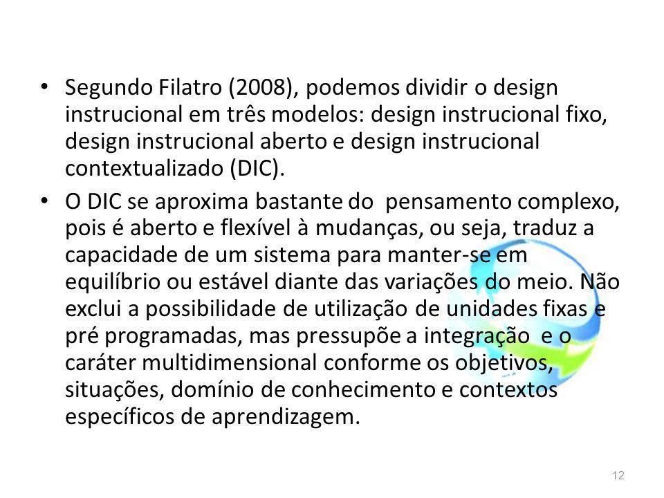 Segundo Filatro (2008), podemos dividir o design instrucional em três modelos: design instrucional fixo, design instrucional aberto e design instrucio