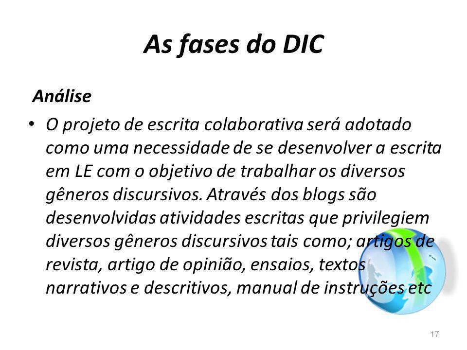 As fases do DIC Análise O projeto de escrita colaborativa será adotado como uma necessidade de se desenvolver a escrita em LE com o objetivo de trabalhar os diversos gêneros discursivos.