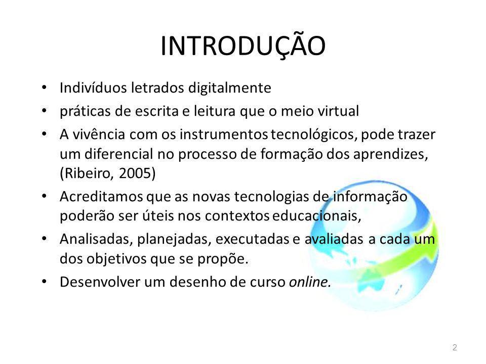 INTRODUÇÃO Indivíduos letrados digitalmente práticas de escrita e leitura que o meio virtual A vivência com os instrumentos tecnológicos, pode trazer