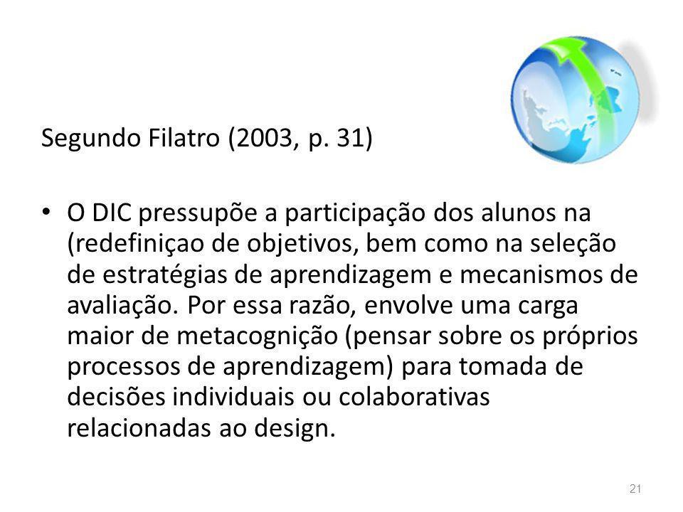 Segundo Filatro (2003, p. 31) O DIC pressupõe a participação dos alunos na (redefiniçao de objetivos, bem como na seleção de estratégias de aprendizag