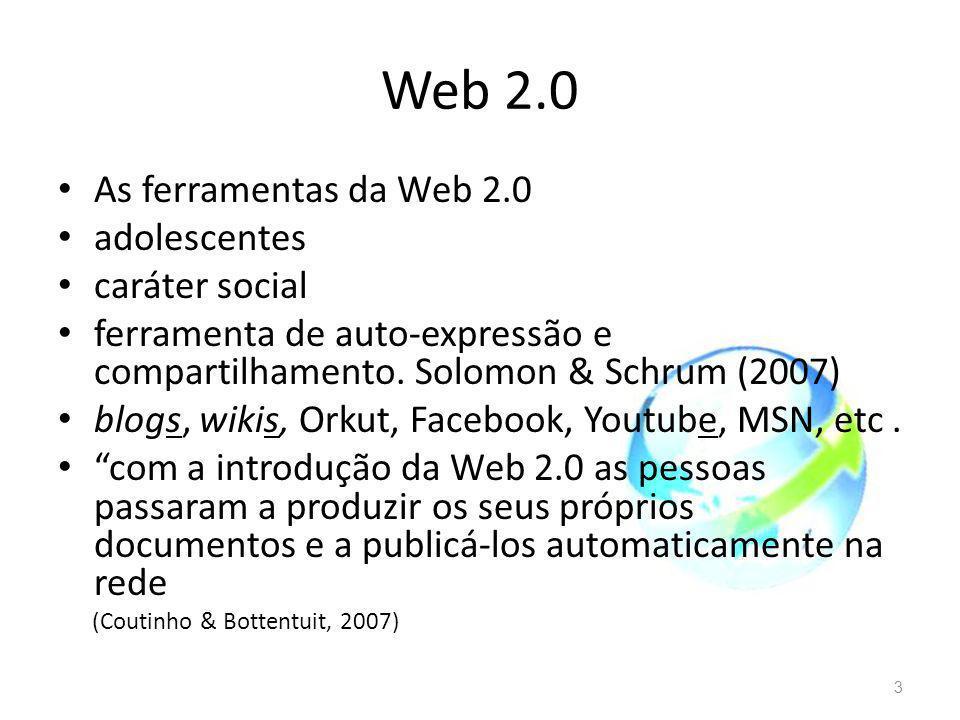 Web 2.0 As ferramentas da Web 2.0 adolescentes caráter social ferramenta de auto-expressão e compartilhamento. Solomon & Schrum (2007) blogs, wikis, O