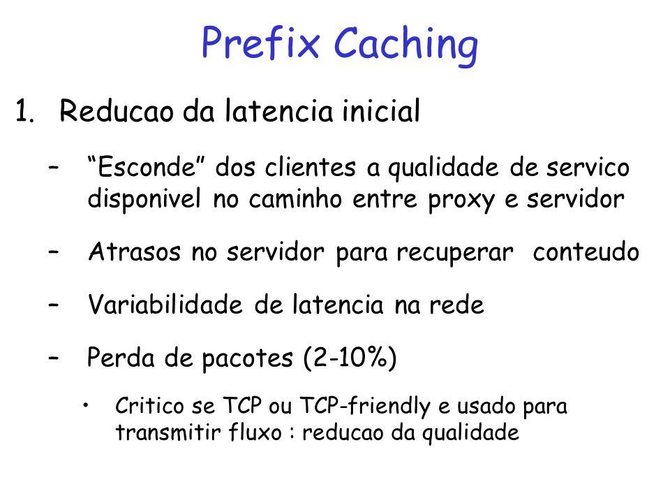 Multicast Merging with Prefix Caching (MMerge) Caminho proxy-cliente fala multicast Prefixo transmitido do proxy via Bandwidth Skimming (Closest Target) Sufixo transmitido do servidor para proxy via unicast o mais tarde possível Expressão C i (v i ) obtida via simulacão