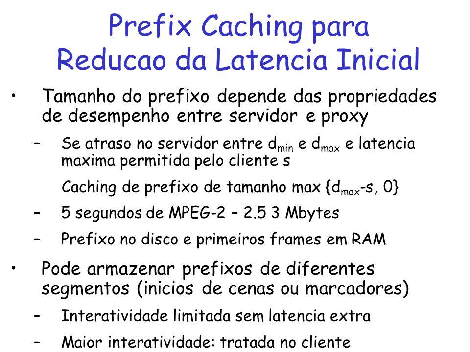 Prefix Caching para Reducao da Latencia Inicial Buffer extra de tamanho d max – d min para absorver jitter Proxy pode usar UDP com cliente Transparent Caching: –Caching dinamico ou pre-configurado (CDN) Implementacao: –range request (HTTP 1.1) ou absolute positioning (RTSP)