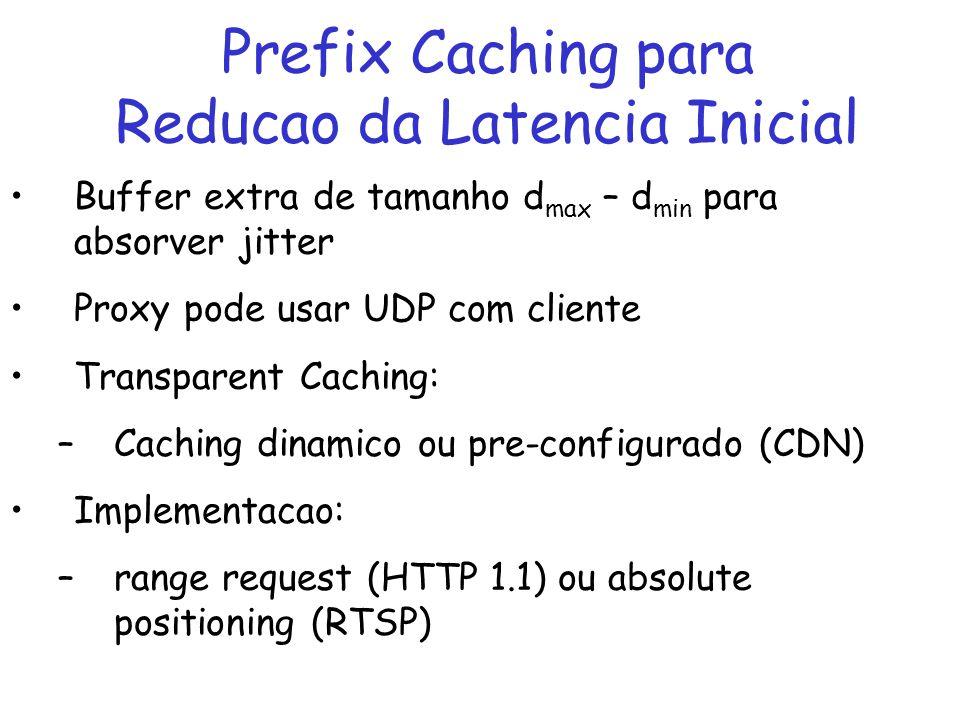 Prefix Caching para Workahead Smoothing Prefix caching permite proxy realizar smoothing no buffer do cliente sem aumentar atraso Smoothing: –minimiza picos e rajadas na demanda por banda de rede/servidor de fluxos VBR –restricoes de espaco e atrasos –Se nao existe proxy, servidor pode fazer smoothing no cliente Servidor tem que conhecer buffer do cliente Atrasos adicionais