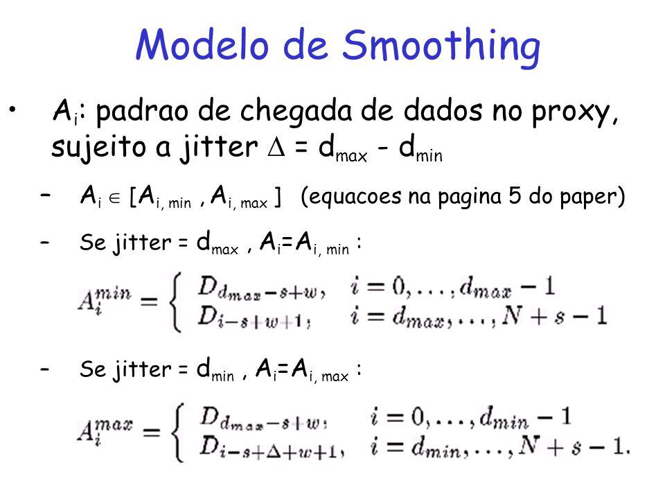 Modelo de Smoothing Smoothing: precisa determinar quando enviar cada frame a frente do tempo, precisa fazer um schedule de transmissao –Restricoes de transmissao (restricoes para S i ) Objetivo : Determinar limites inferiores e superiores para Si que permitam computar um schedule que satisfaça: –S 0 = 0 –S N+s = D N