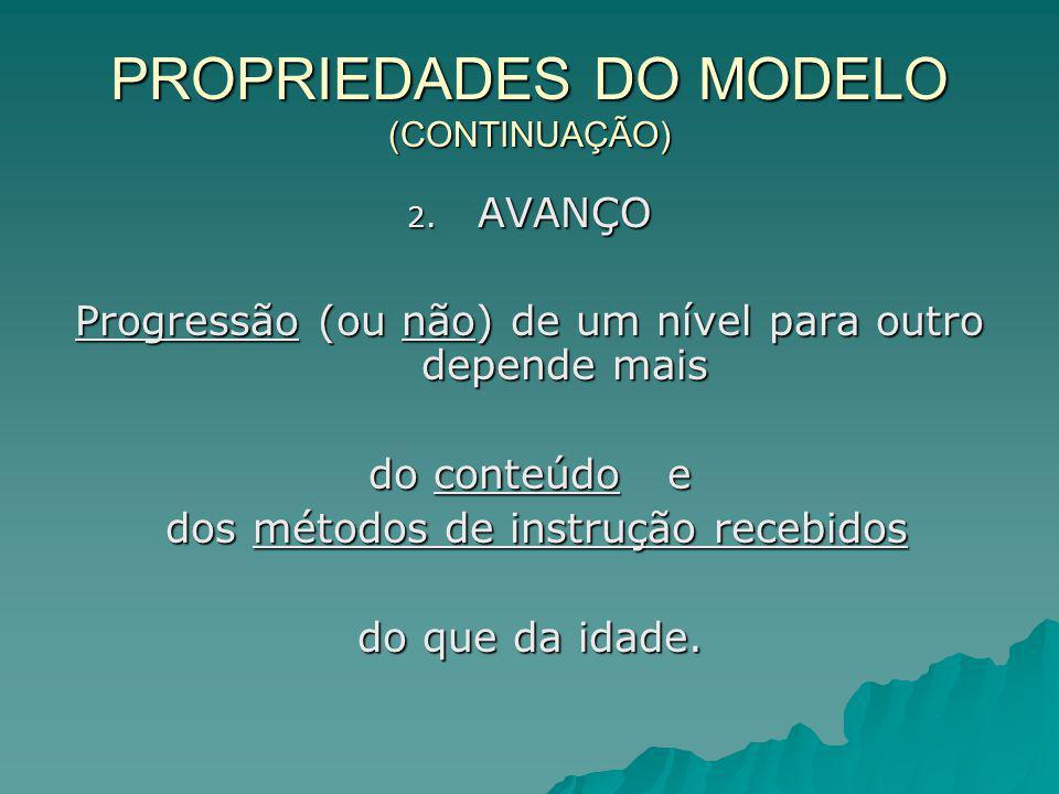 PROPRIEDADES DO MODELO (CONTINUAÇÃO) 2. AVANÇO Progressão (ou não) de um nível para outro depende mais do conteúdo e dos métodos de instrução recebido