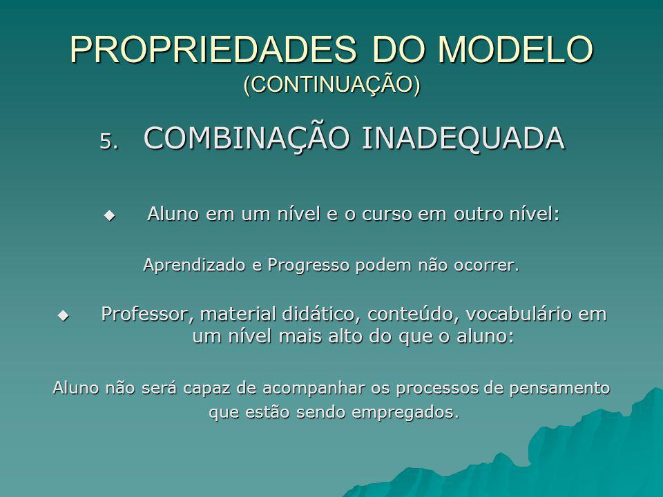 PROPRIEDADES DO MODELO (CONTINUAÇÃO) 5. COMBINAÇÃO INADEQUADA Aluno em um nível e o curso em outro nível: Aluno em um nível e o curso em outro nível: