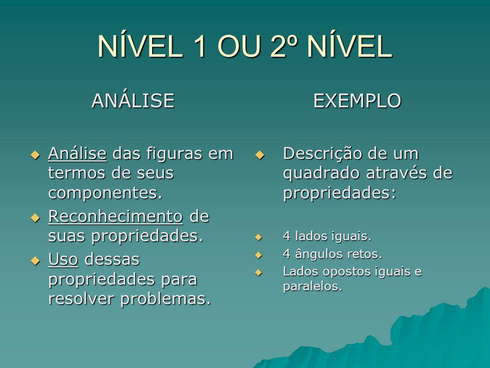NÍVEL 1 OU 2º NÍVEL ANÁLISE Análise das figuras em termos de seus componentes.