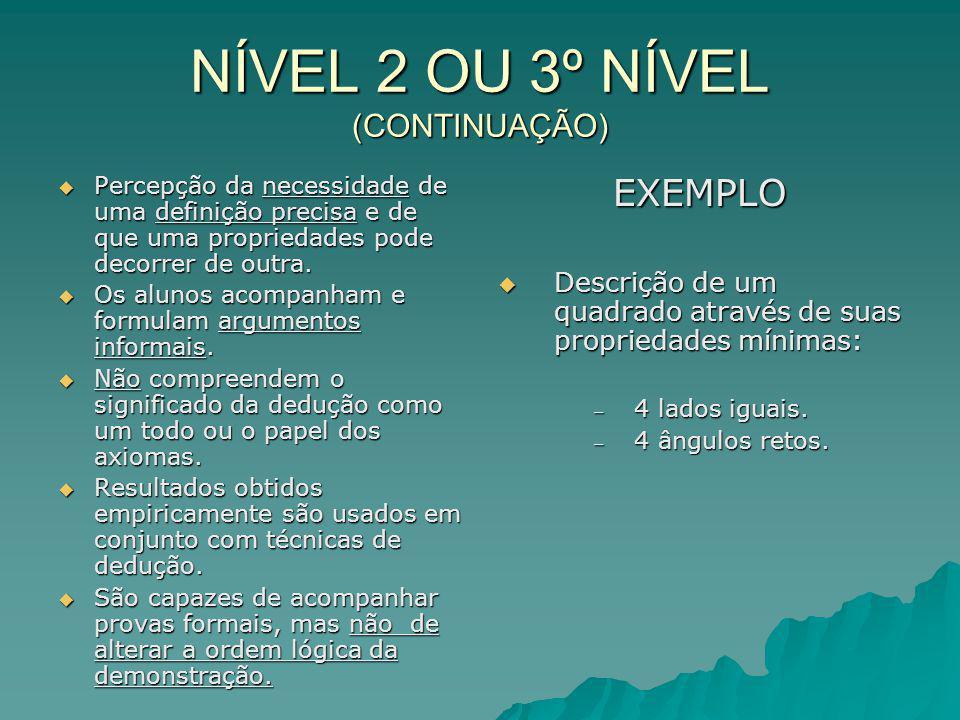 NÍVEL 2 OU 3º NÍVEL (CONTINUAÇÃO) Percepção da necessidade de uma definição precisa e de que uma propriedades pode decorrer de outra. Percepção da nec