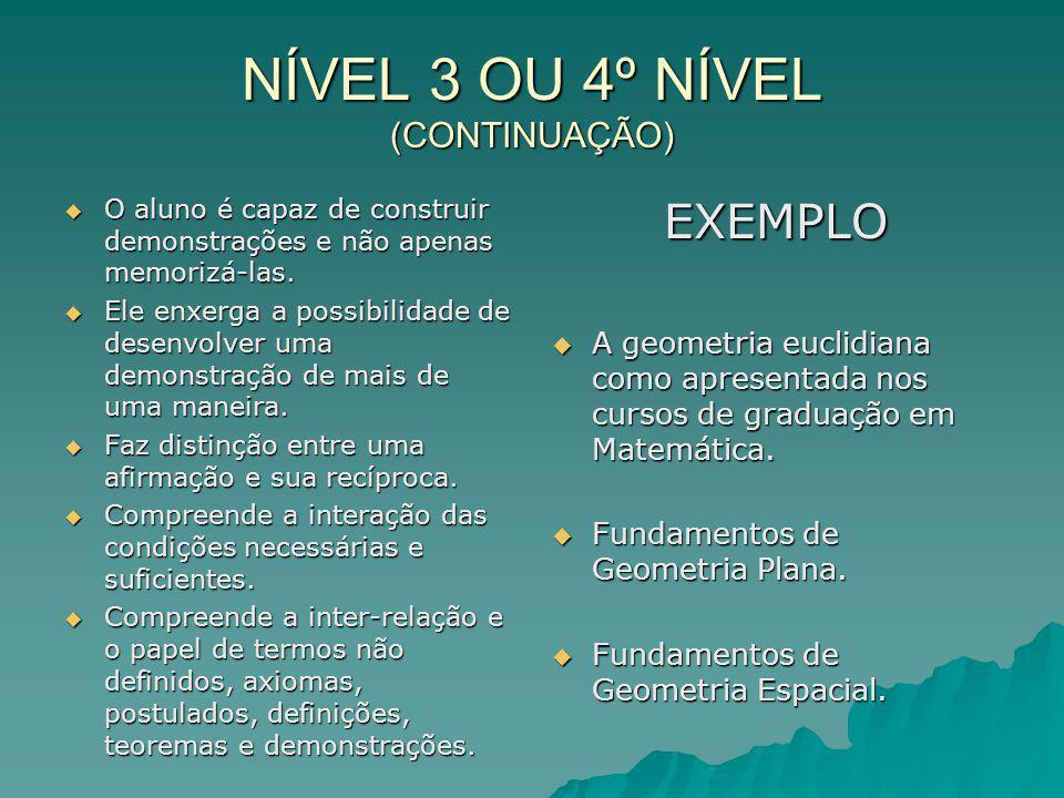 NÍVEL 4 OU 5º NÍVEL RIGOR Capacidade de compreender demonstrações formais.