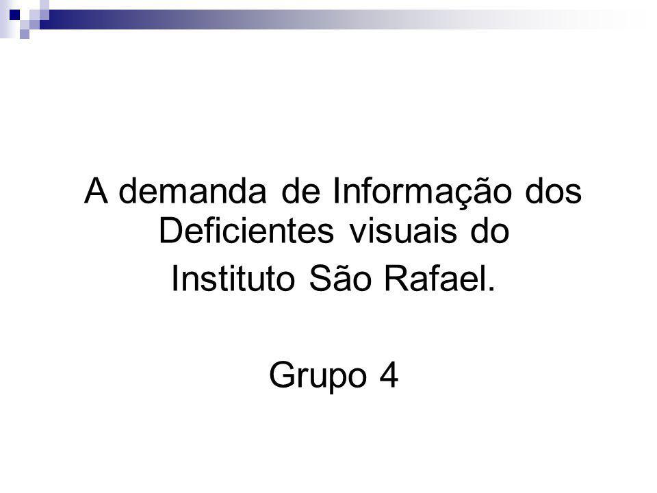 A demanda de Informação dos Deficientes visuais do Instituto São Rafael. Grupo 4
