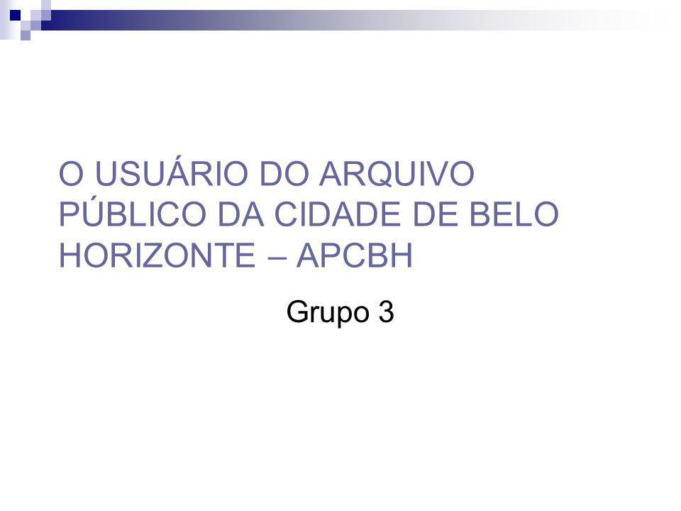 O USUÁRIO DO ARQUIVO PÚBLICO DA CIDADE DE BELO HORIZONTE – APCBH Grupo 3