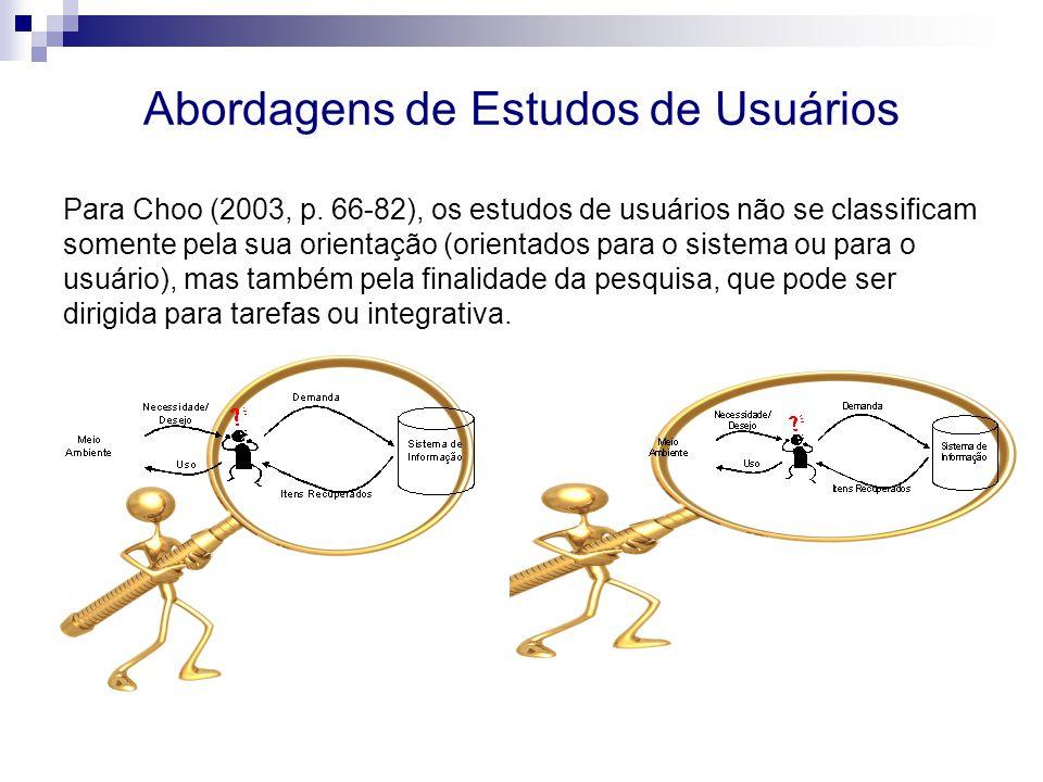 Abordagens de Estudos de Usuários Para Choo (2003, p. 66-82), os estudos de usuários não se classificam somente pela sua orientação (orientados para o