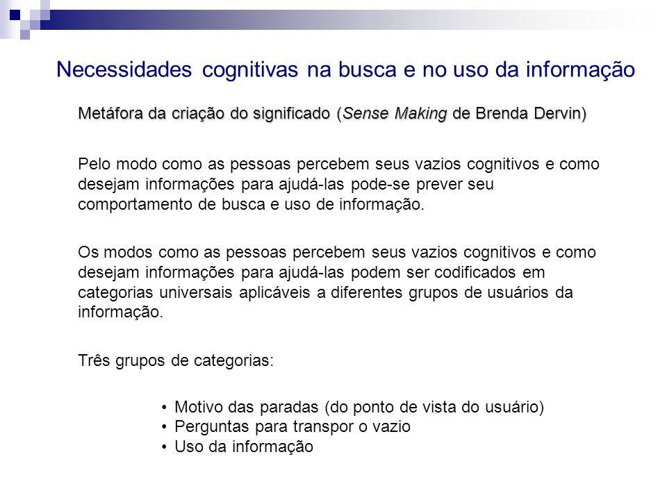 Pelo modo como as pessoas percebem seus vazios cognitivos e como desejam informações para ajudá-las pode-se prever seu comportamento de busca e uso de