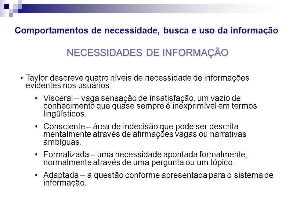 Comportamentos de necessidade, busca e uso da informação NECESSIDADES DE INFORMAÇÃO Taylor descreve quatro níveis de necessidade de informações eviden