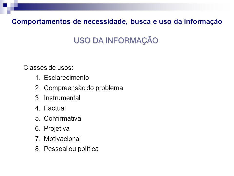 USO DA INFORMAÇÃO Classes de usos: 1.Esclarecimento 2.Compreensão do problema 3.Instrumental 4.Factual 5.Confirmativa 6.Projetiva 7.Motivacional 8.Pes