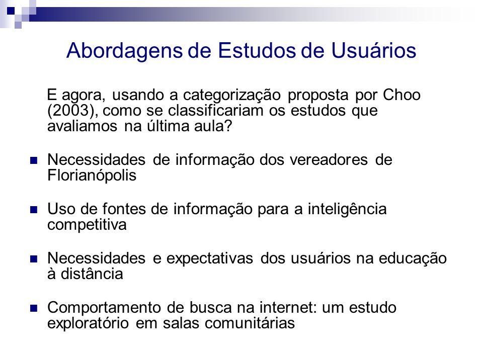 Abordagens de Estudos de Usuários E agora, usando a categorização proposta por Choo (2003), como se classificariam os estudos que avaliamos na última